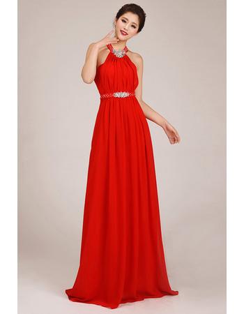 Discount Halter Column Chiffon Floor Length Bridesmaid Dresses