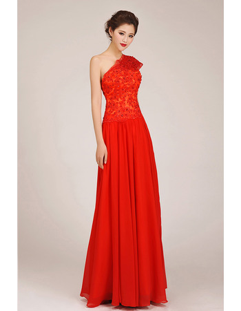 Elegant One Shoulder Chiffon Floor Length A-Line Bridesmaid Dresses