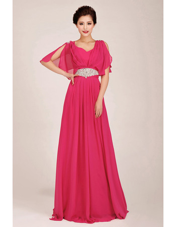 Attractive Beading Bling Bling Flowing Chiffon Bridesmaid Dresses/ Charming Pleated Wedding Guest Dresses with Split Sleeve Sequ