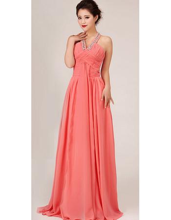 Gorgeous Halter Chiffon Floor Length A-Line Bridesmaid Dresses