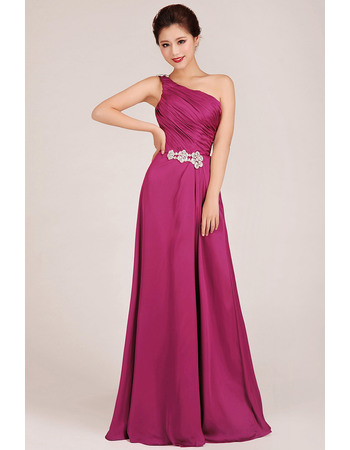 Custom One Shoulder A-Line Floor Length Chiffon Bridesmaid Dresses