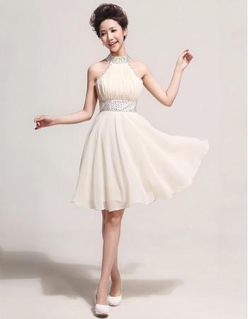 Discount Halter Chiffon Short A-Line Cocktail Dresses