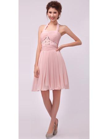 Formal Halter Chiffon Short A-Line Cocktail Dresses