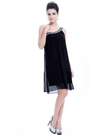 Amazing One Shoulder Chiffon Sheath/ Column Short Cocktail Dresses