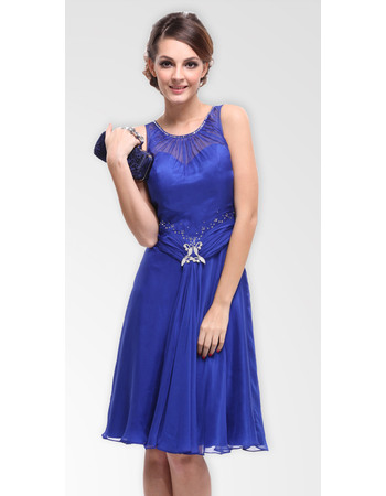 Gorgous A Line Round Scoop Chiffon Knee Length Formal Cocktail