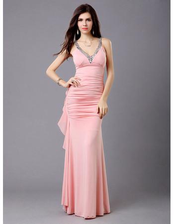 Pretty Sheath Chiffon V-Neck Floor Length Formal Evening Dresses