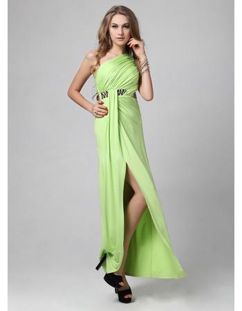 Discount One Shoulder Floor Length Evening Dresses with Side Split
