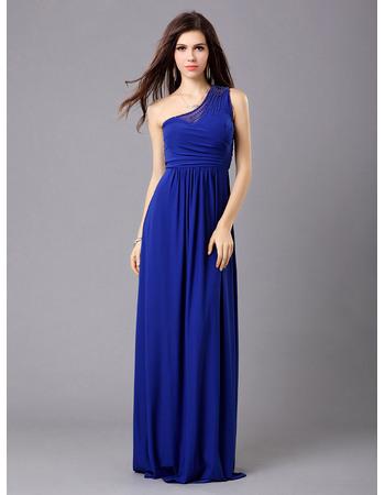 Affordable One Shoulder Chiffon Column Formal Evening Dresses