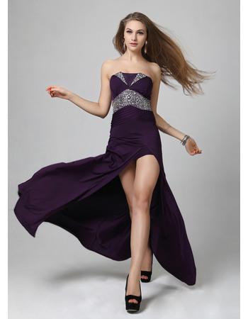 Sexy Sheath/ Column Satin Strapless Floor Length Formal Evening Dresses