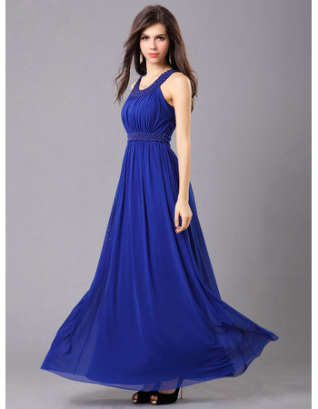 Beautiful A-Line Chiffon Round/ Scoop Ankle Length Evening Dresses