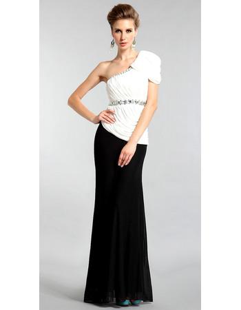Elegant One-Shoulder Cap Sleeve Chiffon Evening Dresses with Beaded Rhinestone Detail