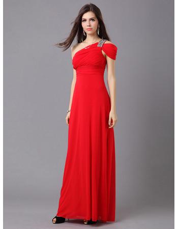 Classic Sheath/ Column One Shoulder Chiffon Floor Length Evening Dresses