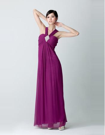 Inexpensive Empire V-Neck Chiffon Floor Length Evening Dresses