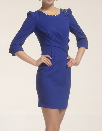 Attracitve Round/ Scoop Long Sleeves Short Column Satin Mother of the Bride/ Groom Suits