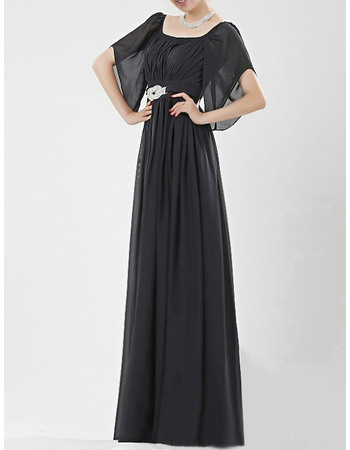 Simple Sheath Square Chiffon Mother of the Bride/ Groom Dresses with Flutter Sleeves