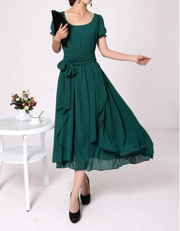 Sweet A-Line Chiffon Short Sleeves Tea Length Mother of the Bride/ Groom Dresses