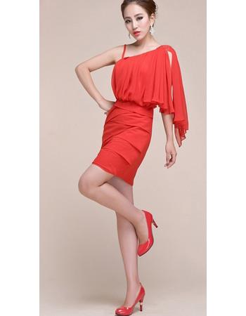 Custom One Shoulder Short Chiffon Homecoming/ Cocktail Dresses