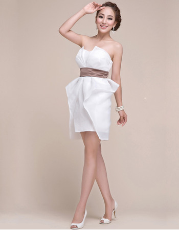 Concise Column Strapless Chiffon Short Junior Homecoming/ Graduation Dresses