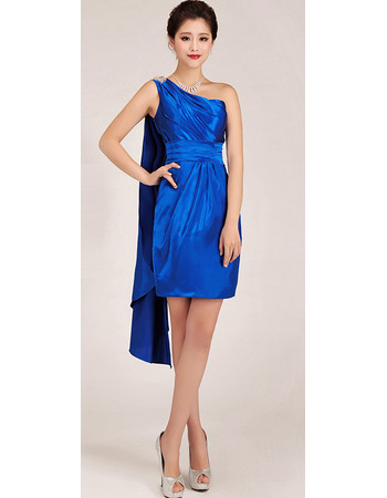 Discount One Shoulder Short Sheath Satin Homecoming Dresses