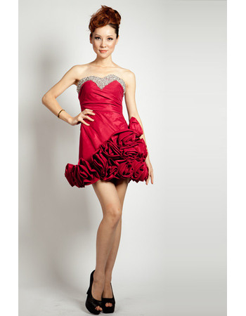 Hot Short Sweetheart A-Line Satin Junior Homecoming Dresses