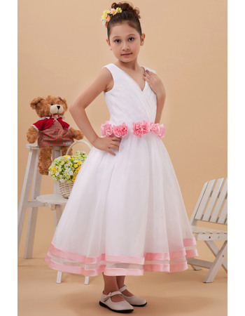 Inexpensive A-Line V-Neck Tea Length Tulle Flower Girl Dresses with Ruched Bodice and Hand-made Flowers Waist