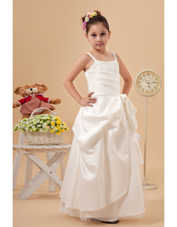Pretty A-Line Spaghetti Straps Satin First Communion Dresses with Beaded Appliques Detail