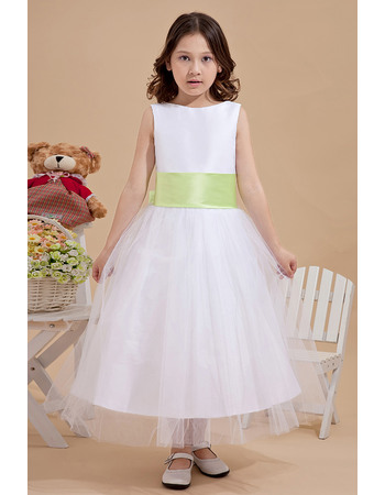 Affordable Discount A-Line Bateau Tea Length Tulle Flower Girl Dress with Sashes