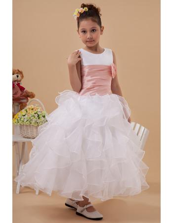 Amazing Pretty A-Line Round/ Scoop Ruffled Tiered Skirt Tea Length Satin Organza Flower Girl Dresses