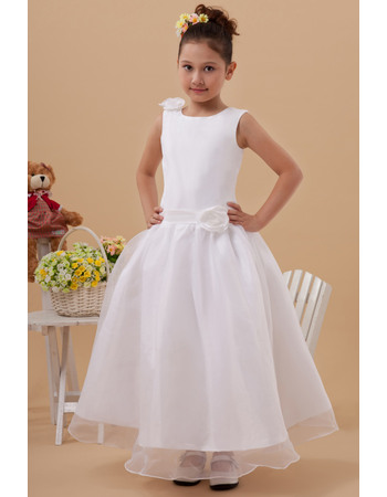 Pretty Ball Gown Bateau Tea Length Organza White First Communion Dresses with Hand Made Flowers