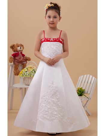 Beautiful Colored A-Line Spaghetti Straps Satin Embroidery Long Length Color Block Flower Girl Dresses