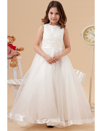 Afforable A-Line Crew Neck long Length First Communion Dresses with Beaded Appliques Waist
