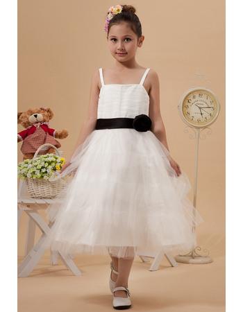 Affordable A-Line Straps Ruffle Skirt Organza Knee Length Tulle Flower Girl Dresses