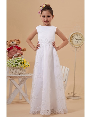 Discount Simple A-Line Bateau Floor Length Lace Appliques White First Communion Dresses