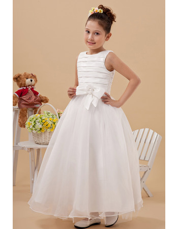 Inexpensive Ball Gown Satin Organza Ankle Length First Communion Dresses with Ruched Bodice