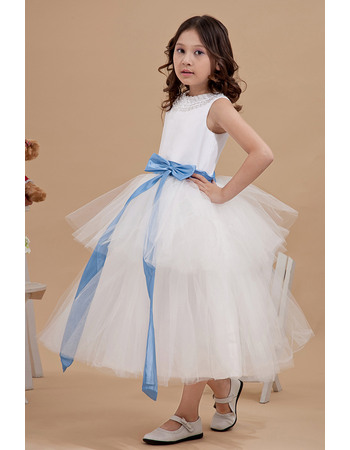 Inexpensive Ball Gown Beaded Bateau Neck Tiered Tulle Satin Tea Length Flower Girl Dresses with Sashes