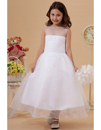 Lovely Beaded A-Line Illusion Neckline Organza Tea Length White First Communion Dresses
