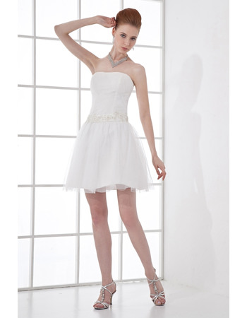 Affordable Pleated Strapless Short Tulle Wedding Dresses with Beading Appliques Waist