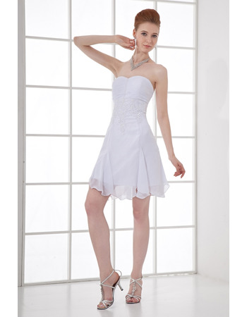 Discount Pleated Bust Short Beach Chiffon Wedding Dresses with Beading Appliques