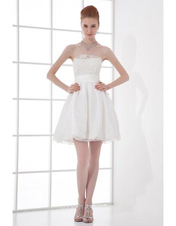 Prety A-Line Beaded Lace Appliques Strapless Short Taffeta Wedding Dresses