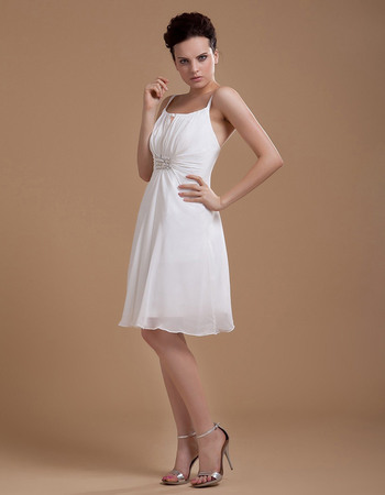 Affordable Spaghetti Straps Knee Length Short Reception Wedding Dresses with Keyhole
