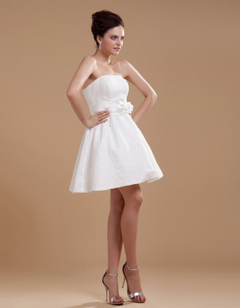 Simple A-Line Strapless Short Lace Wedding Dresses with 3D Flowers