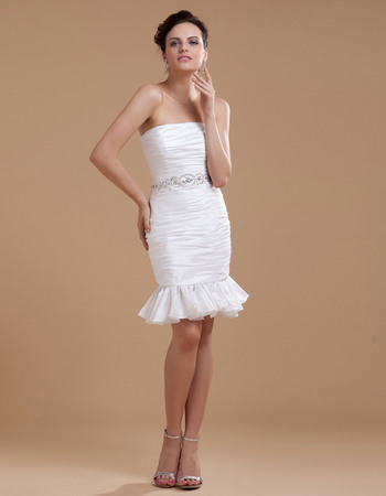 Beautiful All Over Ruched Taffeta Mini Reception Wedding Dresses with Ruffle Hem