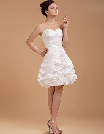 Pretty A-Line Sweetheart Ruched Bodice Short Reception Wedding Dresses with Pick-up Skirt