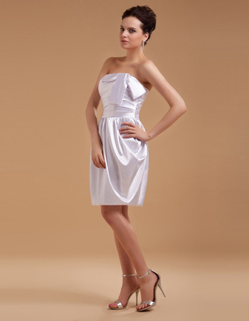 Simple Sheath Strapless Satin Short Reception Wedding Dresses with Modified Bow Detail