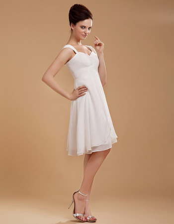 Custom Chiffon Straps Empire Short Beach Wedding Dresses with Split Front