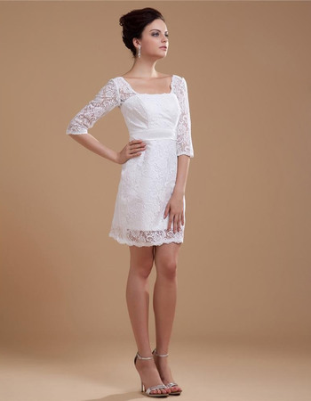 Beautiful Sheath Square Neck Lace Short Wedding Dresses with Half Sleeves
