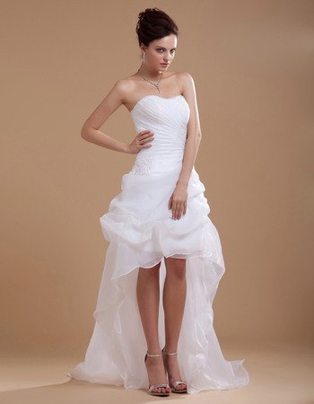 Fashionable A Line High Low Strapless Organza Short Beach Wedding Dresses For Summer