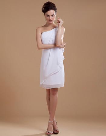 Modern Column One Shoulder Chiffon Mini Wedding Dresses with Front Ruffles Fashion Style