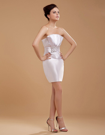 Sexy Sheath Strapless Short Reception Wedding Dresses with Pleated Bust