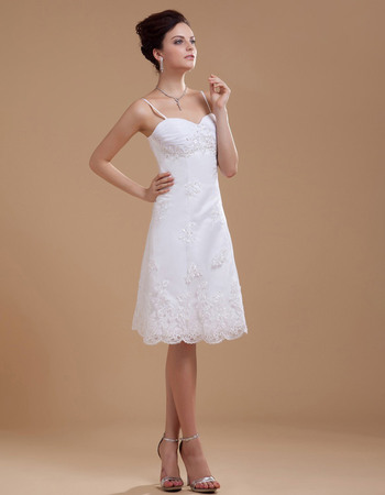 Exquisite Spaghetti Straps Knee Length Beach Wedding Dresses with Beading Appliques